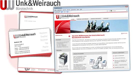Unk&Weirauch Bürotechnik – Logo, Visitenkarten, Briefbogen und Webseite