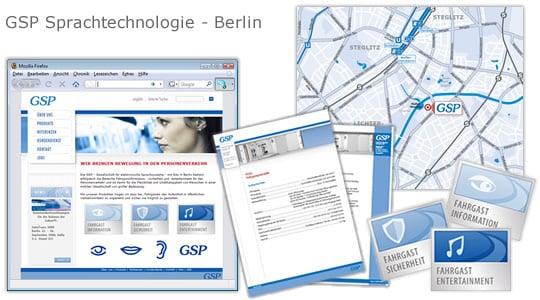 GSP Sprachtechnologie – Illustrationen, Anfahrtskizze, Werbemittel, Webseite
