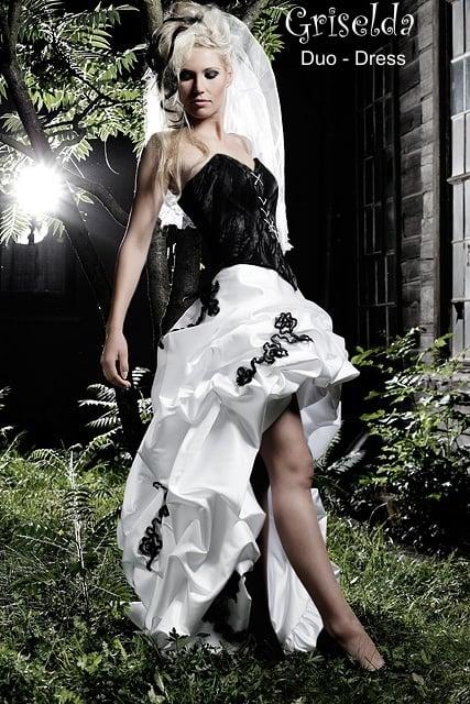 Schwarz weisses Brautkleid Griselda