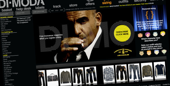 Di-Moda Clothing: Alternative landing page / homepage