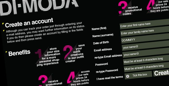Di-Moda Clothing: Quick customer registration!