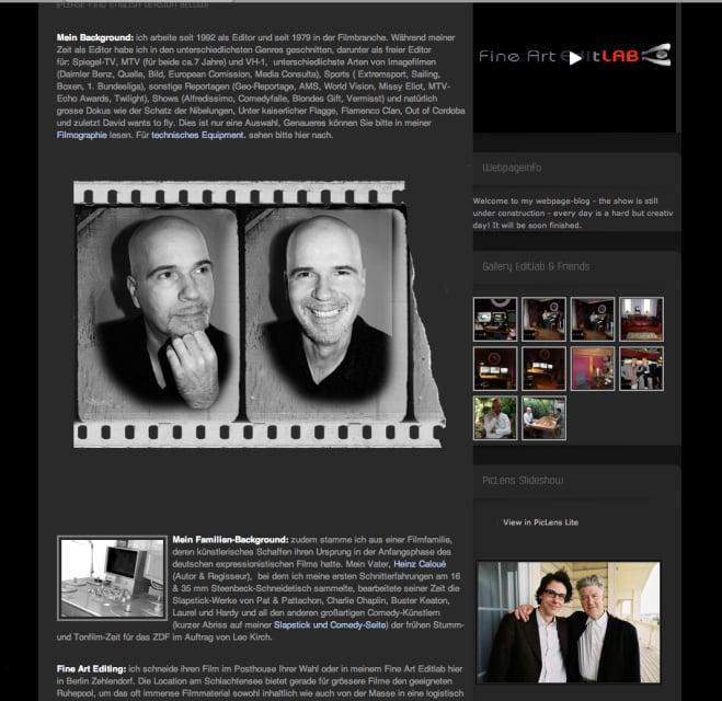 Filmeditor: Wordpress Seite Betreung mit Text