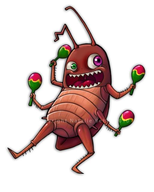 """Maskottchen Entwurf """"Roachie"""" für einen fiktiven Freizeitpark"""