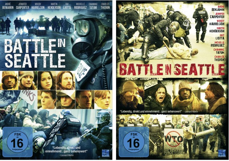 "Cover ""Battle in Seattle"" (2 Entwürfe)"
