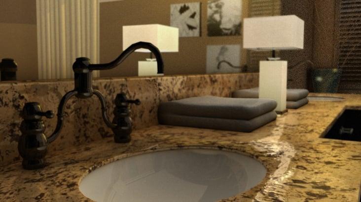 Bathroom render, rendered in MR HDRI, composited in Photoshop