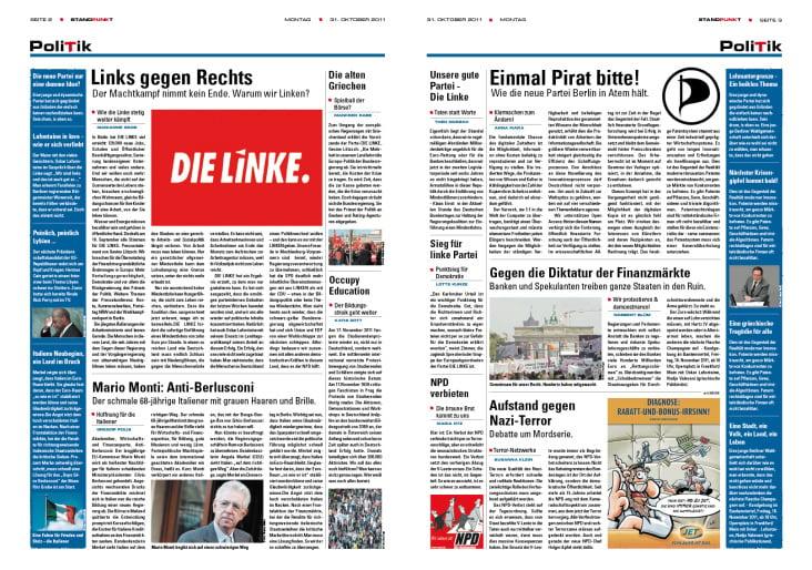 Zeitungs-Doppelseite
