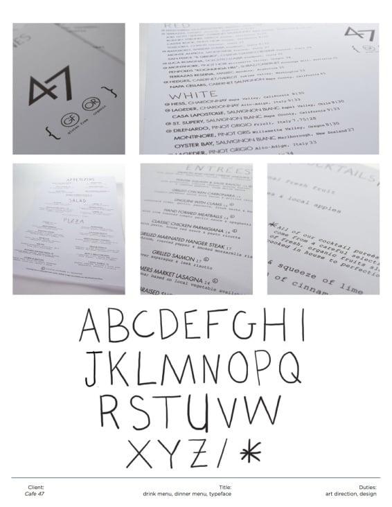 Menu Design + Typeface // 47 Boston
