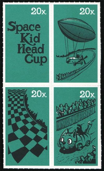 Flyer-Briefmarken zum Weimarer Seifenkistenrennen