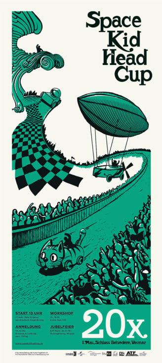 """Plakat für das Weimarer Seifenkistenrennen """"Spacekidheadcup"""""""