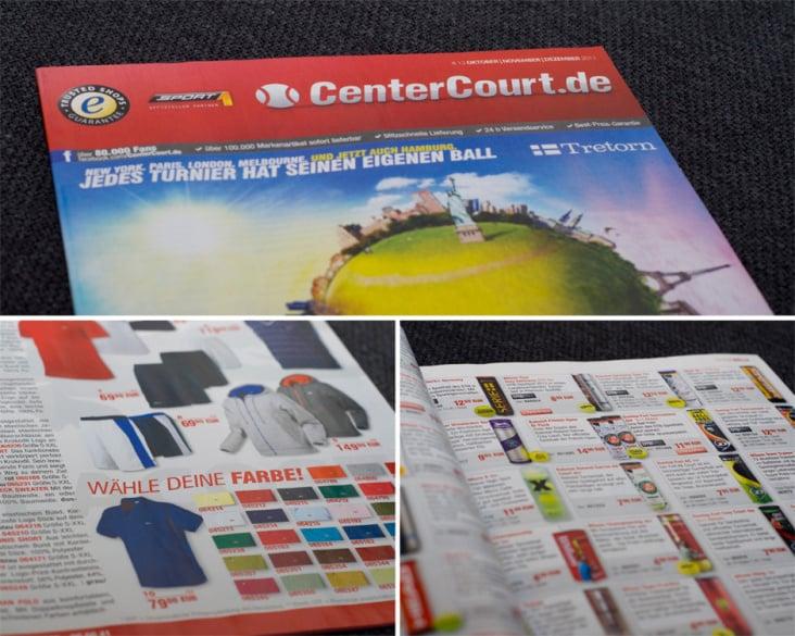 Kataloggestaltung für den Tennis-Onlineversand CenterCourt.de aus Rostock