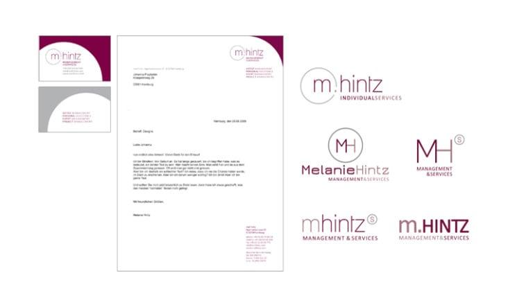 Melanie Hintz– Management & Services. Logo, Visitenkarten, Briefpapier und weitere Logo-Entwürfe.