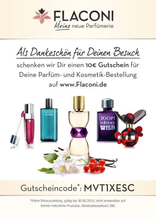 Gutschein in entsprechendem Corporate Design mit Parfum-Zusammenstellung.