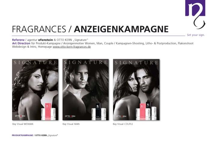 Anzeigenkampagne SIGNATURE, OTTO KERN Fragrances