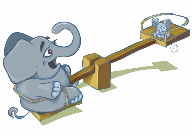 Elefant und Maus