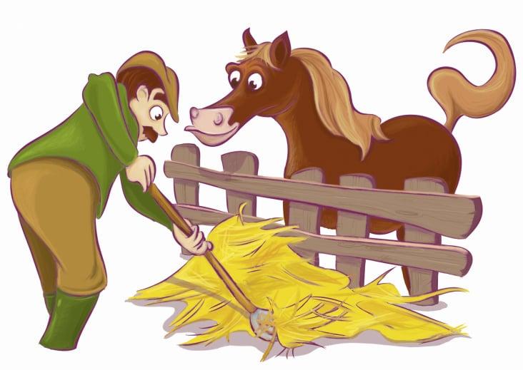 Bauer füttert Pferd