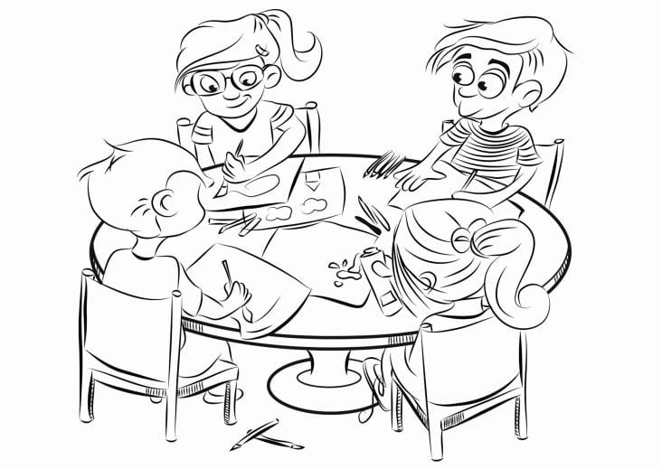 Kinder malen s/w