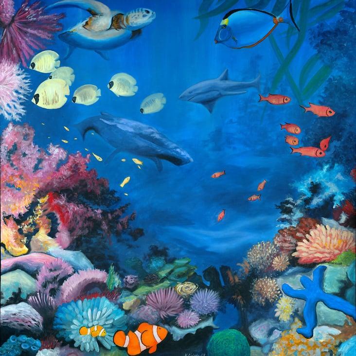 Korallenriff 1, 1×1m, Acryl auf Leinwand