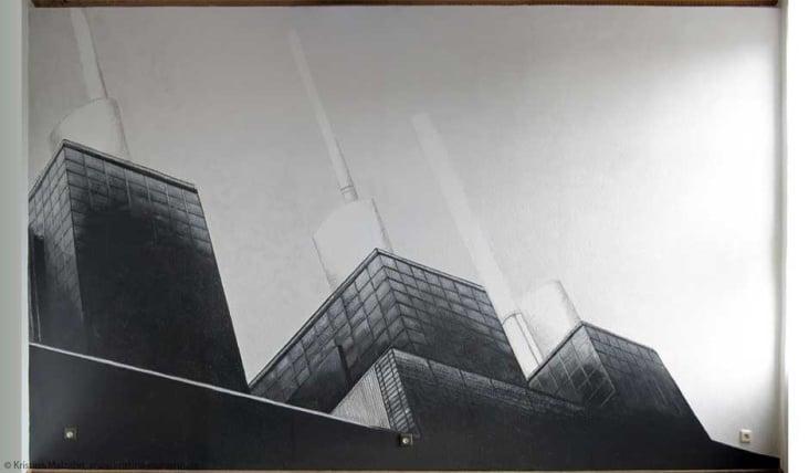 Wandmalerei des Kraftwerks in Linden, ca. 5×3,5m, Wandfarbe und Acryl