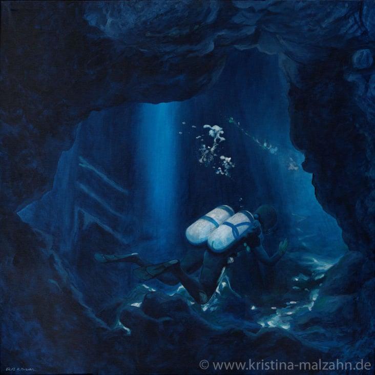 Höhlentaucher, 0,7×0,7m, Acryl auf Leinwand