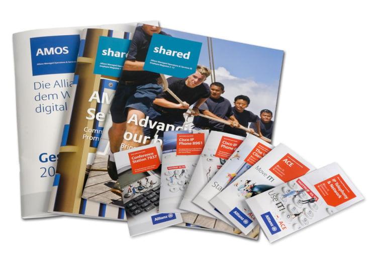 Allianz Geschäftsbericht, Mitarbeiterzeitung, Flyer
