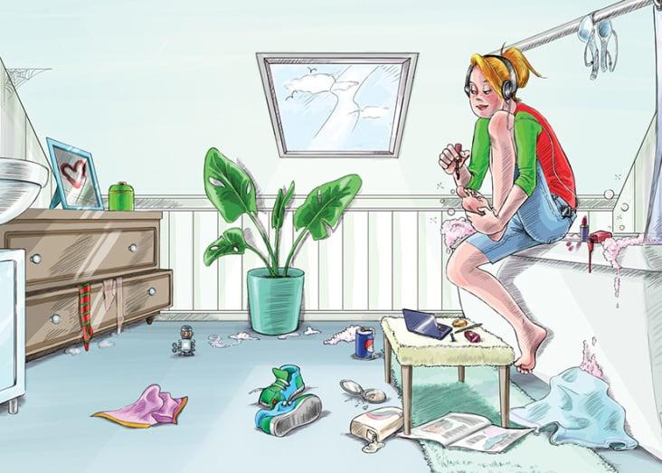 """Für jeden Wohnraum der """"Villa Picobello"""" gibt es spezielle Reinigungsmittel, die im späteren Layout eingesetzt wurden."""