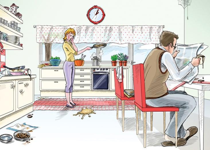 In jedem Wohnraum passieren den Familienmitgliedern ein paar Missgeschicke.
