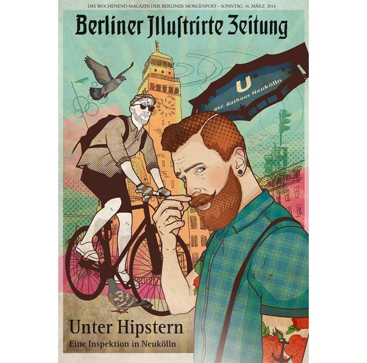 Hiptser in Neukölln / Titelillustration für Berliner Mopo