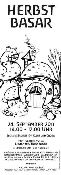 """Illustration """"Herbstbasar"""" für eine Einladung vom Waldorfkindergarten"""