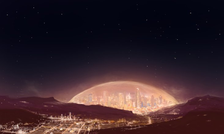 Climate-controlled domed city