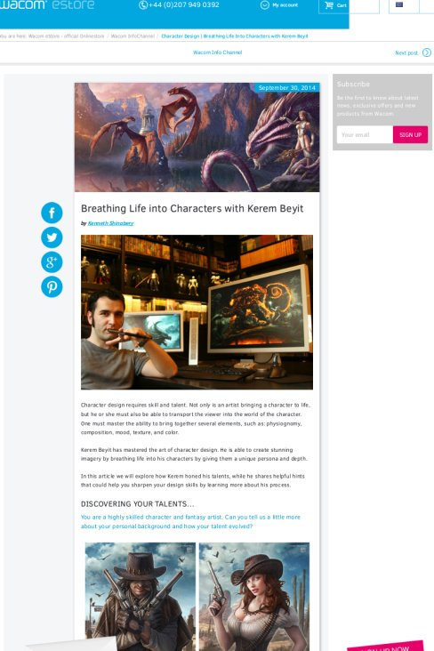 Wacom article featuring illustrator Kerem Beyit.  (This appears on the Wacom InfoChannel).