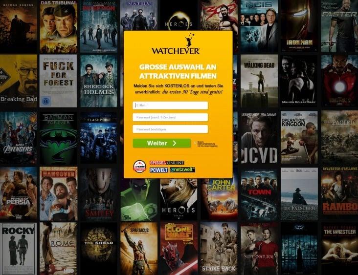 Landing Page für Watchever (Zusammenarbeit mit mediacala.com)