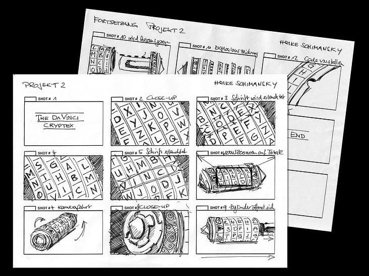 Storyboard zum Cryptex-Film