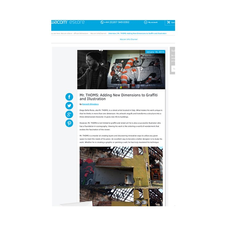 Wacom article featuring graffiti artist Diego Della Posta aka Mr. THOMS.  (This appears on the Wacom InfoChannel).