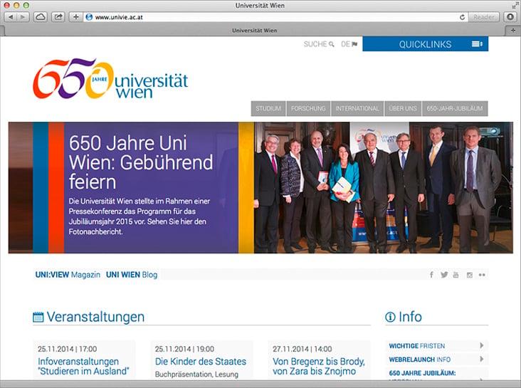 Website der Universität Wien
