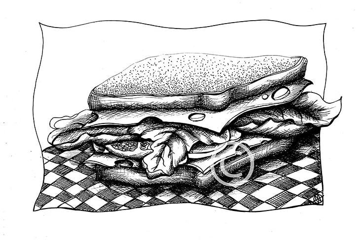 "Sandwich_Illustration zum Märchen ""The brave Tailor"""