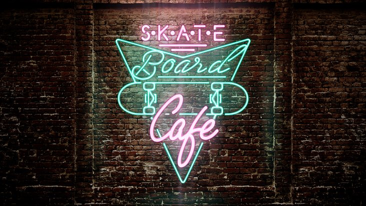 Skate Cafe logo on the wall