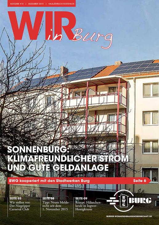 """Cover Immobilienzeitschrift """"Wir in Burg"""""""