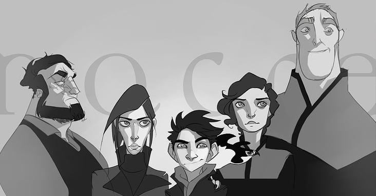 Nacre: main characters portrait line-up