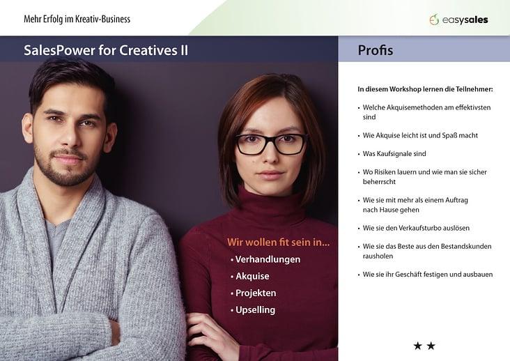SalesPower for Creatives II – Profis Workshop