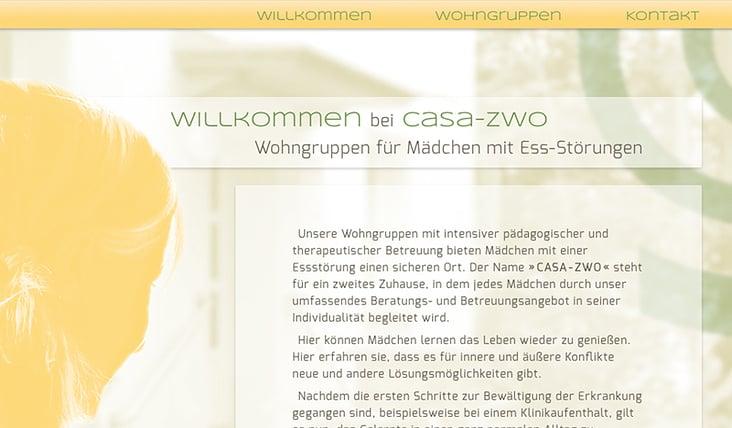 Website www.casa-zwo.de – Screendesign und Umsetzung