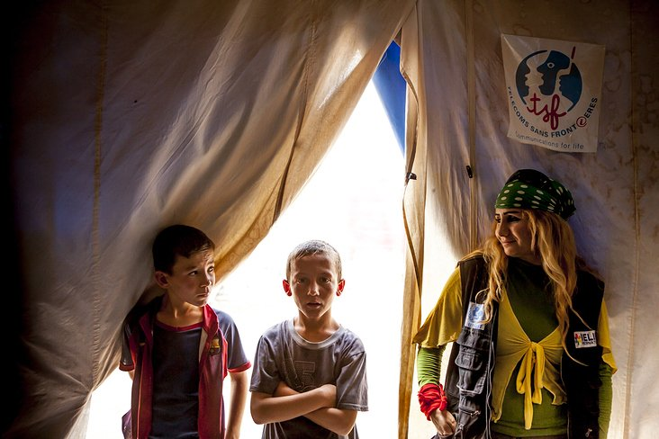 kids in a refugee camp