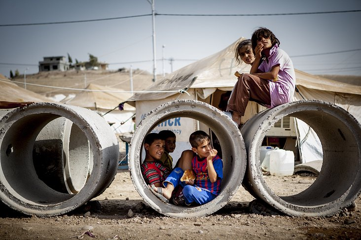 refugee kids in a camp near Hawler/Iraq