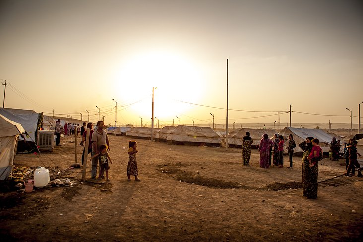 sunset in a refugee camp