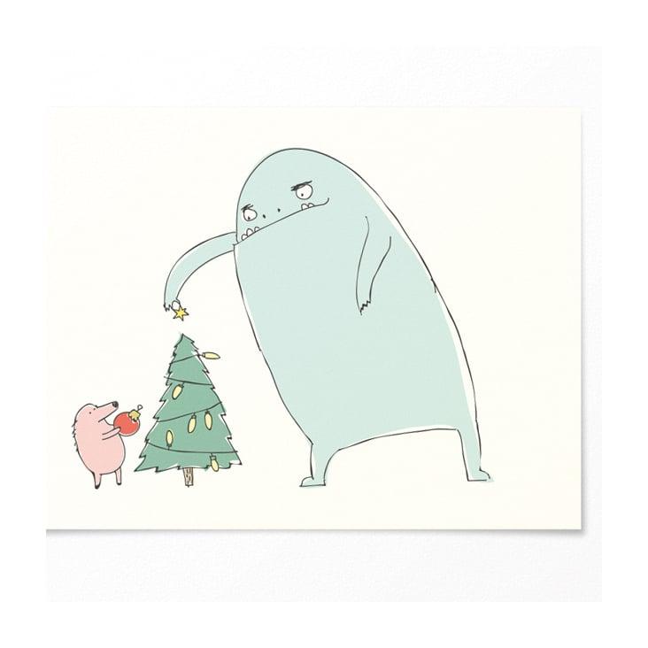 Illustration für Weihnachtskarte– Monster mit Tanne