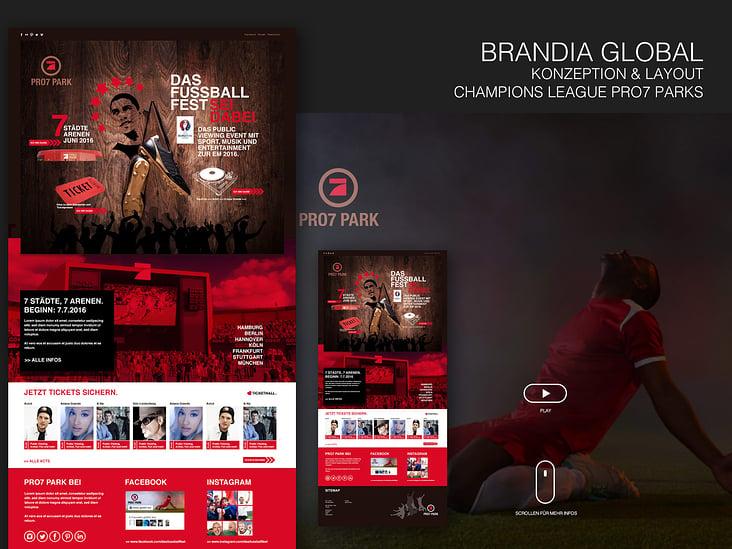 BRANDIA GLOBAL– Konzeption / Layout– Champions League PRO7 Parks