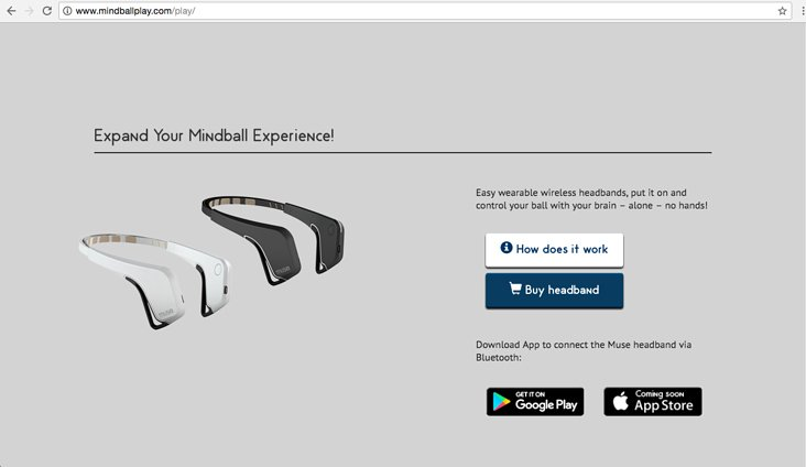 Mindball Play Game Website design and development – Mindball Play headband