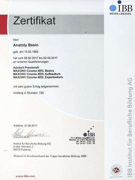 Zertifikat / Zeugnis zur Qualifizierung Maxon Cinema4D Expertenkurs