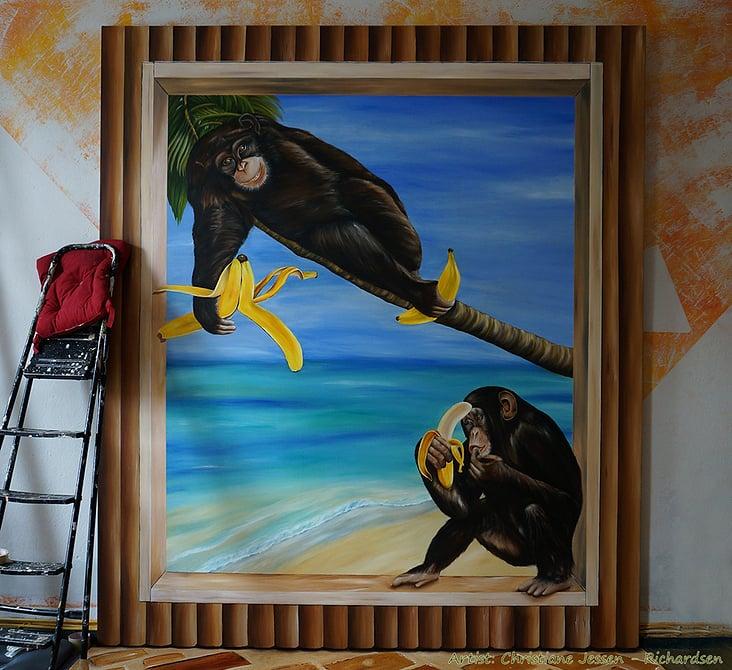 Wandmalerei auf Leinwand / Backdrop, geplant für Fotoaktionen mit Kindern