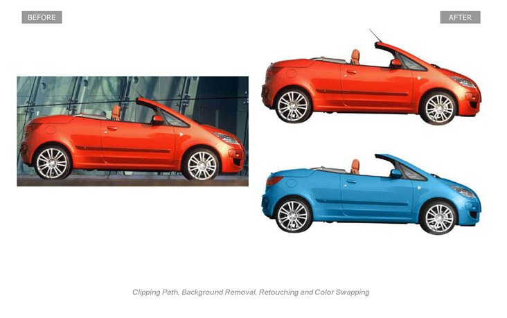 Image Clipping Path, Background Removal, Retouching and Color Swapping