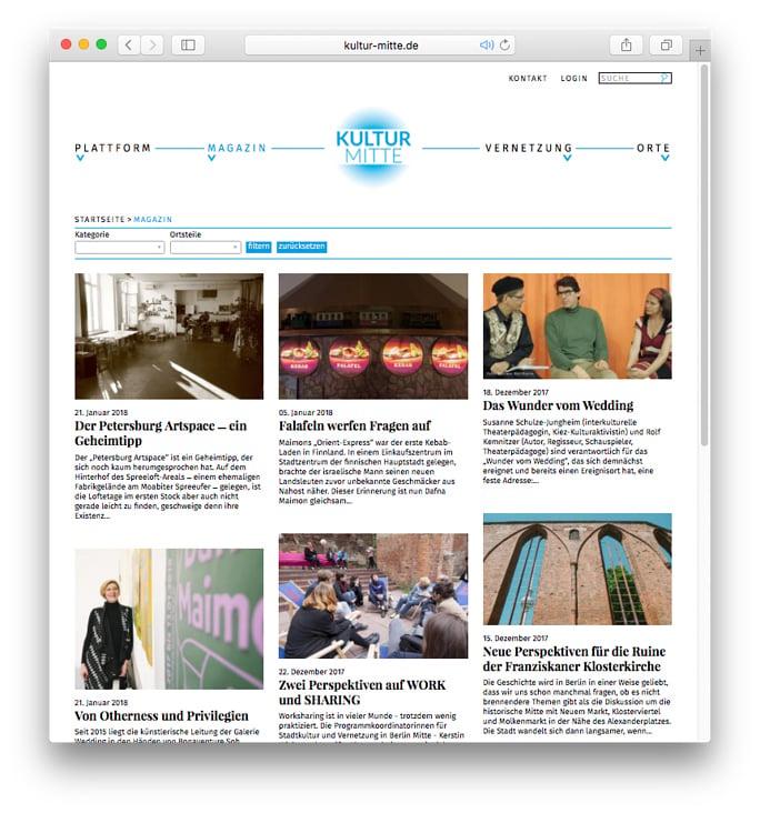Website Kultur Mitte